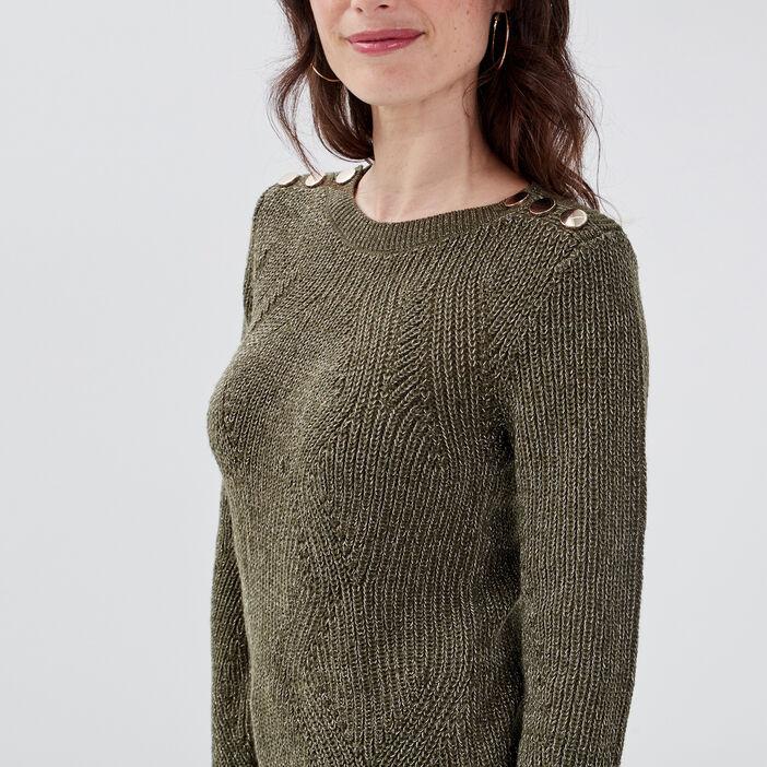 Pull fantaisie à épaules boutonnées vert kaki femme