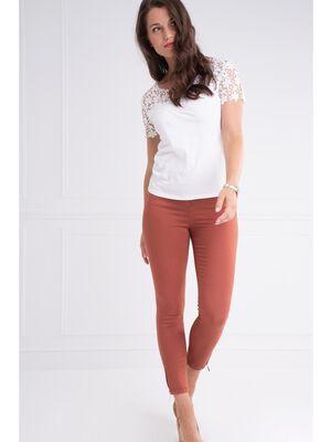 Pantalon ajuste taille haute marron fonce femme