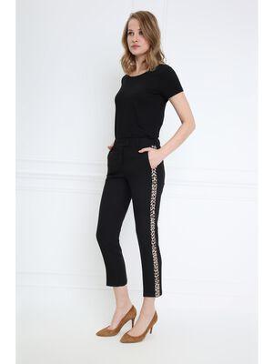 Pantalon bande leopard cote noir femme