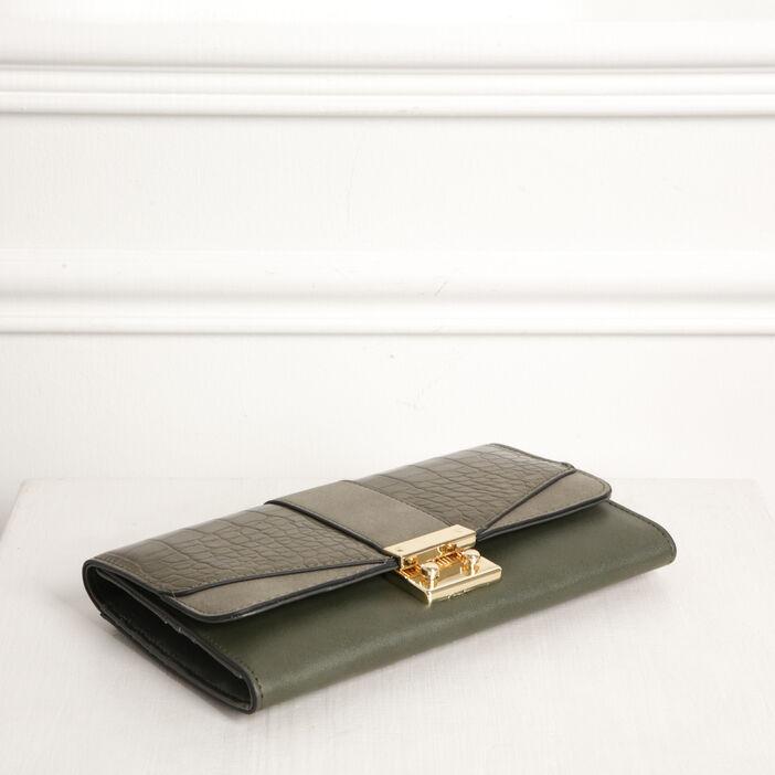 Portefeuille à rabat et pans vert kaki femme