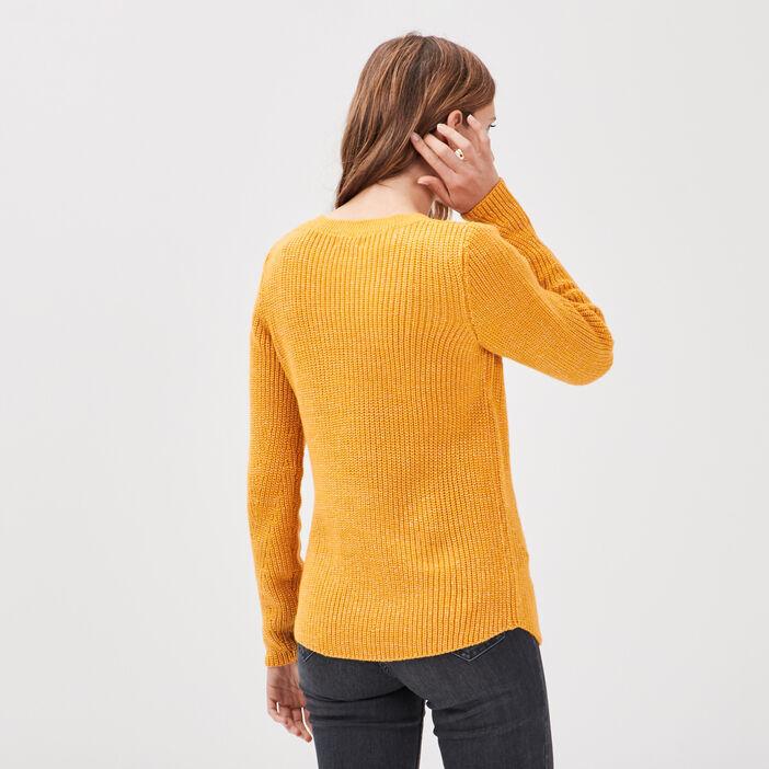 Pull fantaisie à épaules boutonnées jaune or femme
