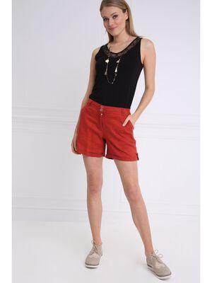 Short droit taille standard orange fonce femme