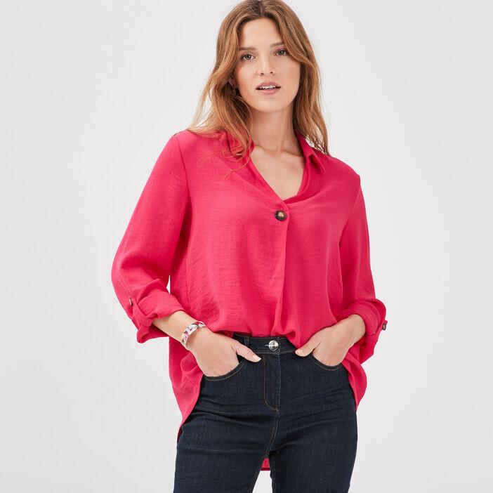 Blouse manches 3/4 boutonnées rose femme