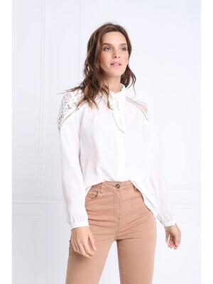 Chemise manches longues creme femme