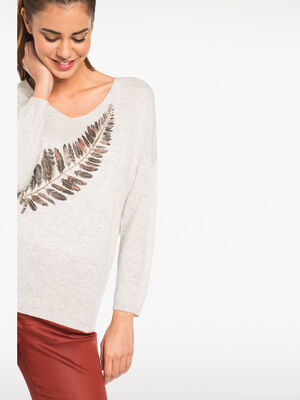 Pull maille chinee motif plumes gris clair femme