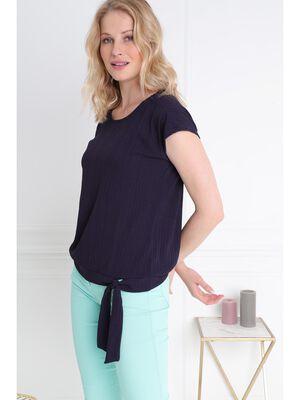 T shirt manche courte bleu femme