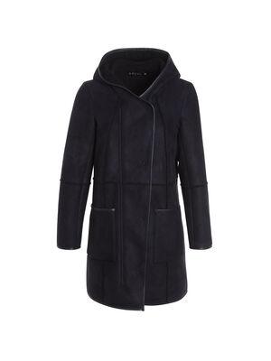 Manteau droit a capuche bleu fonce femme