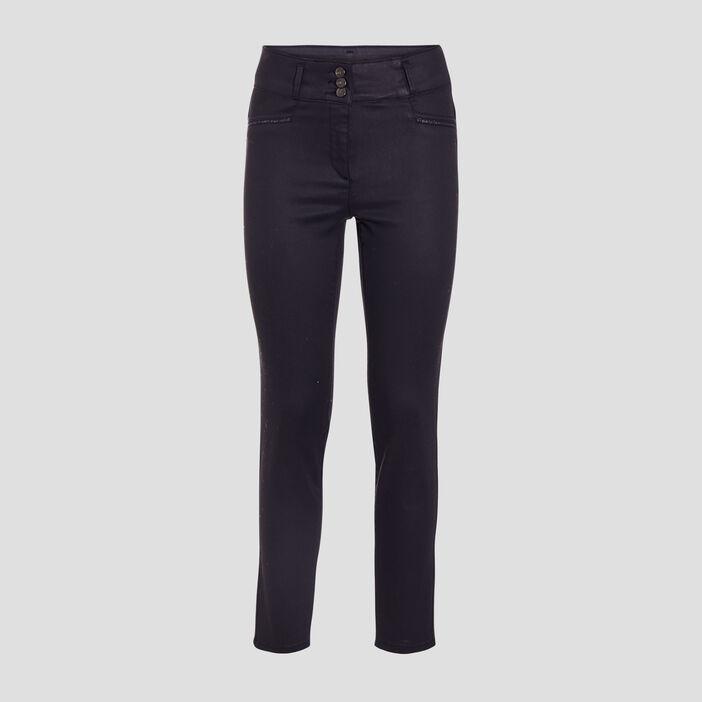 Pantalon ajusté bleu marine femme