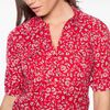 Chemise col classique imprime bandana rouge femme