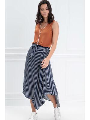 Jupe longue asymetrique noeud bleu fonce femme