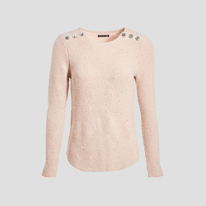 Pull manhes longues vieux rose femme