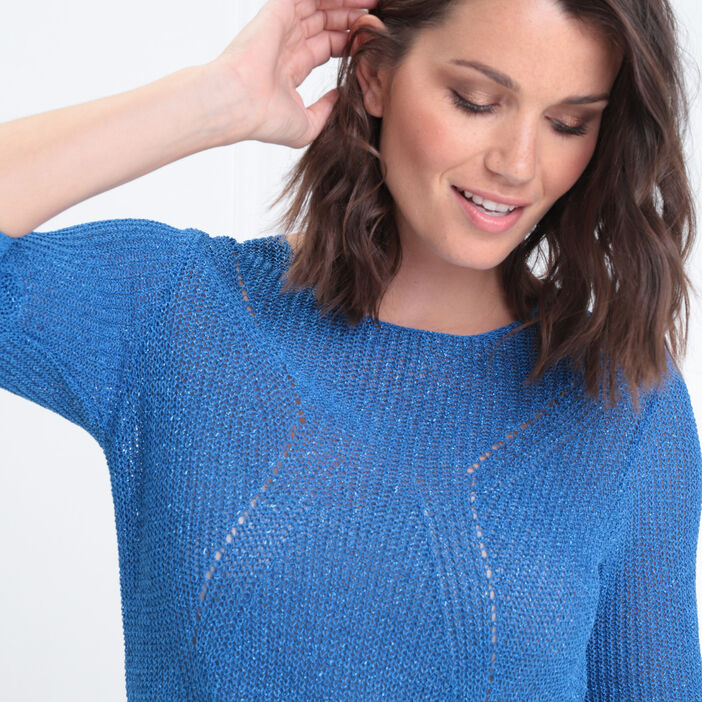 Pull manches 3/4 col rond bleu roi femme