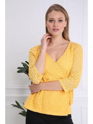 T shirt manches 34 noue jaune femme