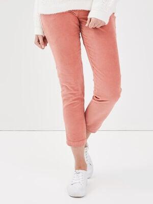 Pantalon chino taille baculee vieux rose femme