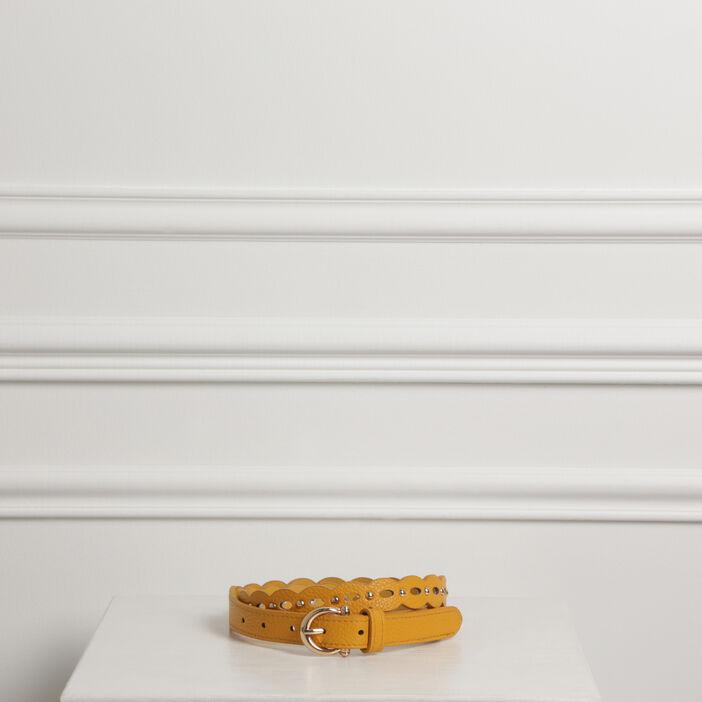 Ceinture grainée à clous jaune femme