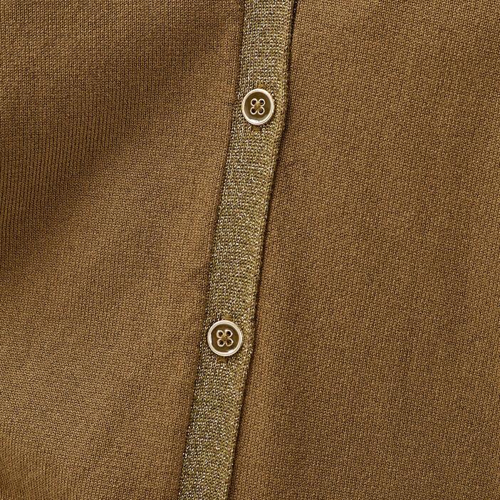 Gilet manches longues boutonné vert kaki femme