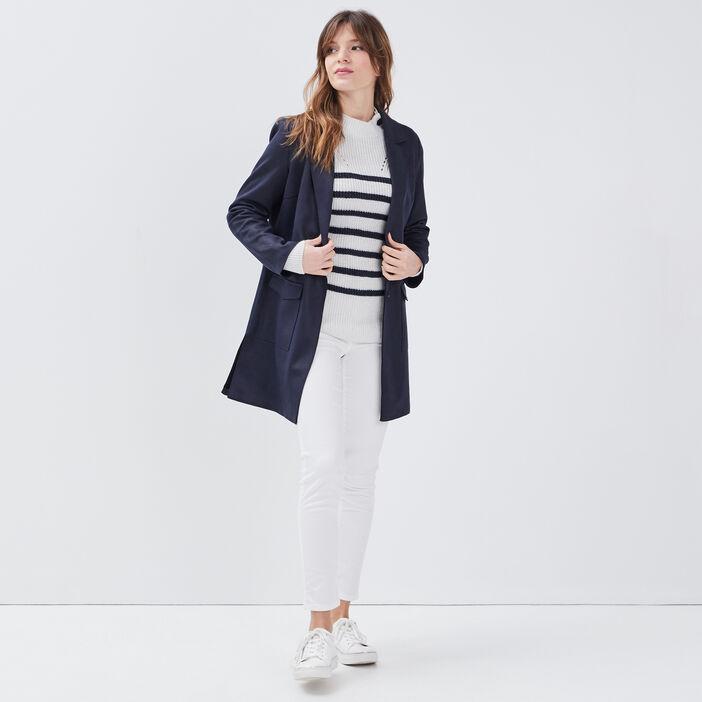 Manteau droit boutonné bleu foncé femme
