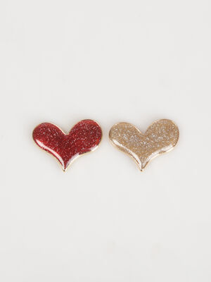 Broches coeurs pailletes rouge femme