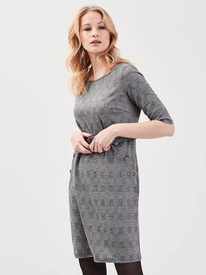 Robe droite ceinturee gris fonce femme