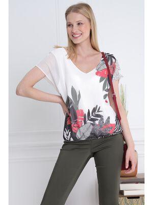 T shirt manches courtes fluide ecru femme