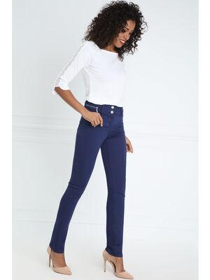 Pantalon ajuste taille haute bleu fonce femme