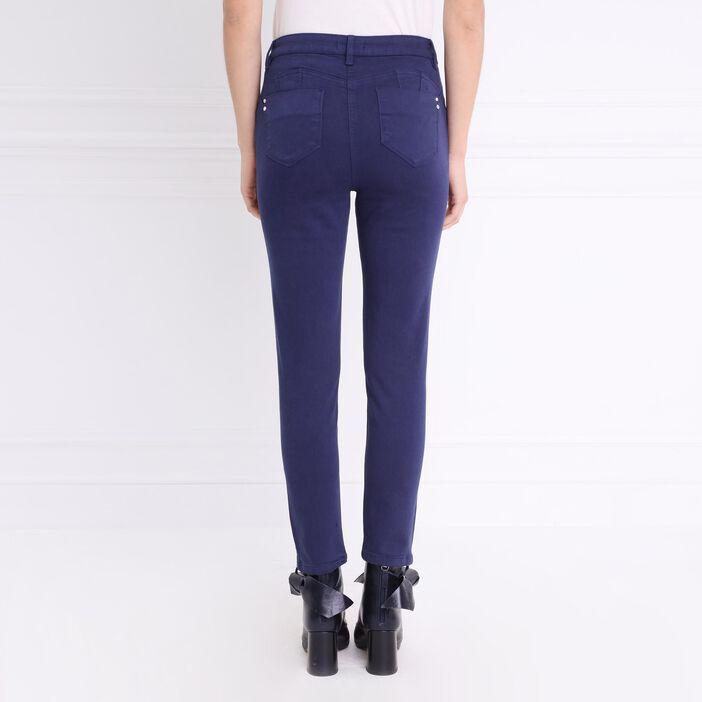 Pantalon ajusté taille haute bleu foncé femme
