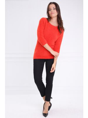 Pull col rond manches 34 rouge femme