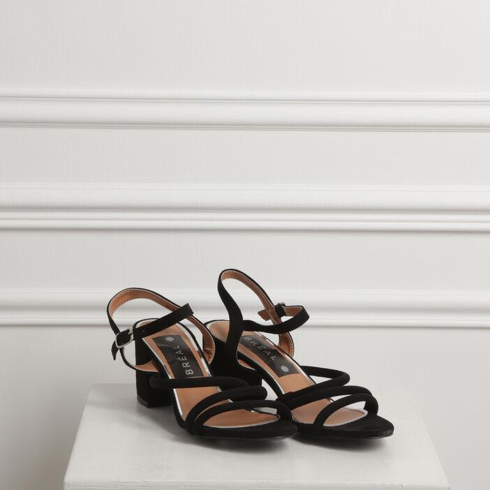 Sandales à brides talon carré noir femme