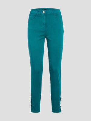 Pantalon ajuste taille haute vert emeraude femme