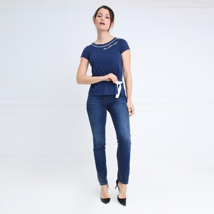 T-shirt brodé à l'encolure bleu foncé femme