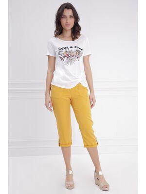 Pantacourt fluide jaune or femme