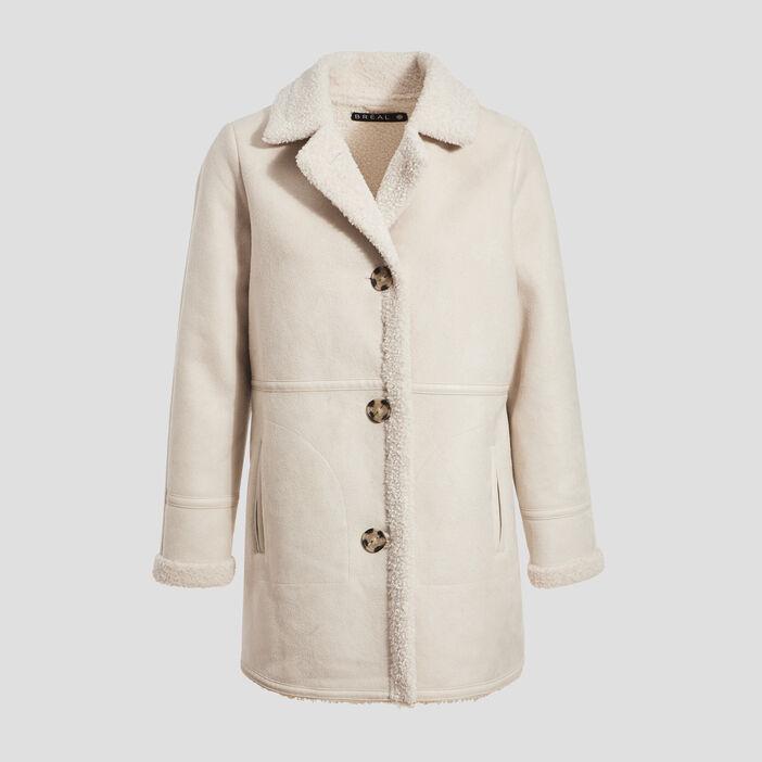 Manteau droit boutonné creme femme