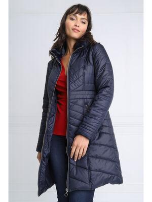 Doudoune evasee col zippe bleu fonce femme