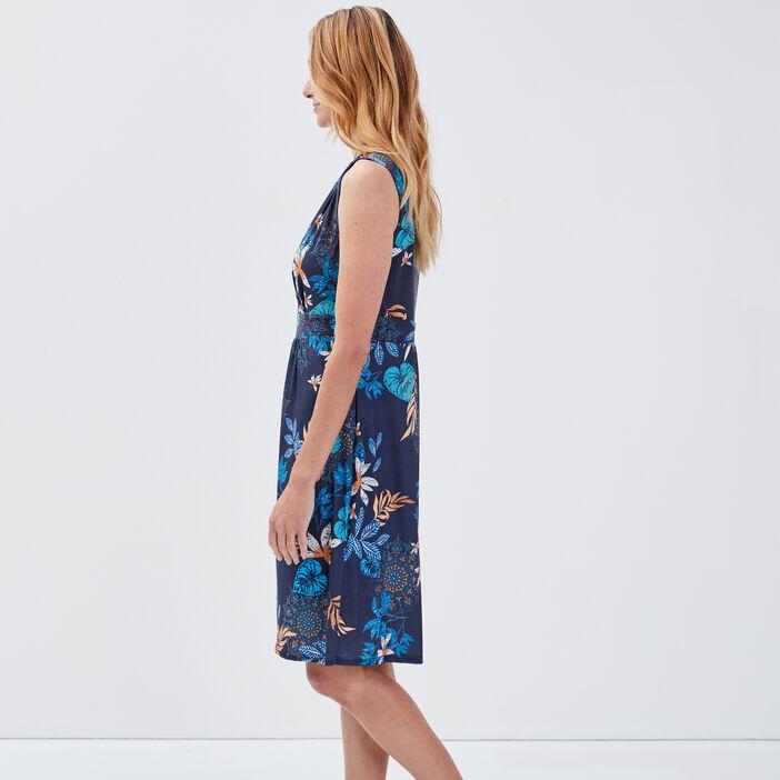 Robe droite sans manches bleu marine femme