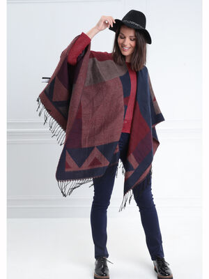 charpe effet poncho rouge fonce femme
