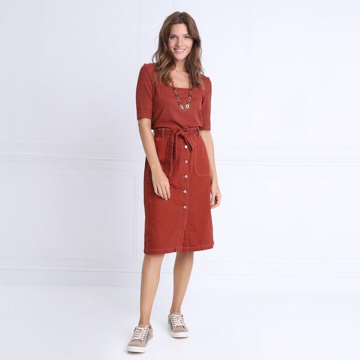 T-shirt manches 3/4 col carré marron cognac femme