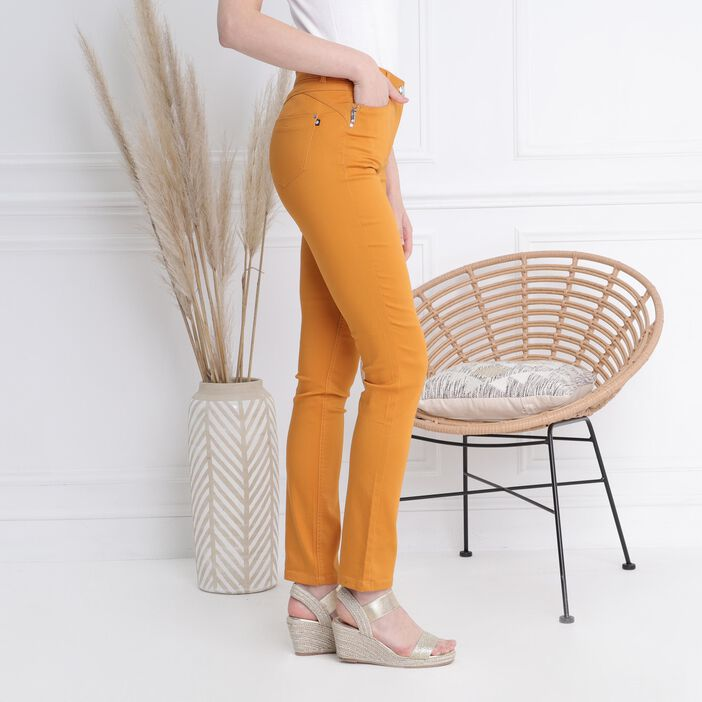 Pantalon taille standard zip poches jaune moutarde femme