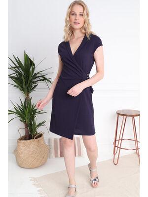Robe courte ajustee nouee bleu fonce femme