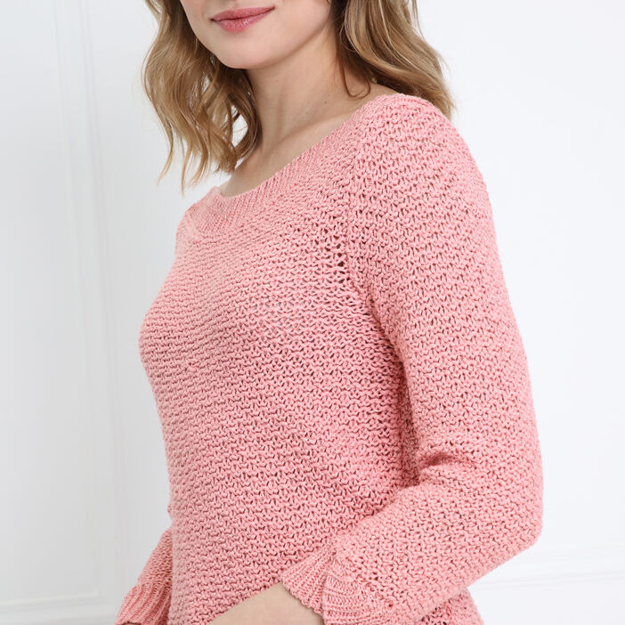 Pull manches 3/4 ajouré rose femme
