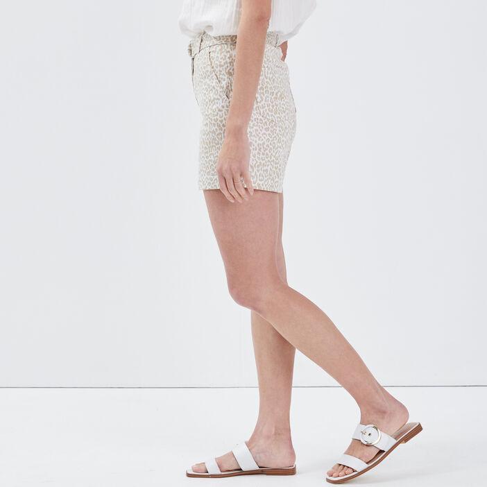 Short droit taille haute beige femme