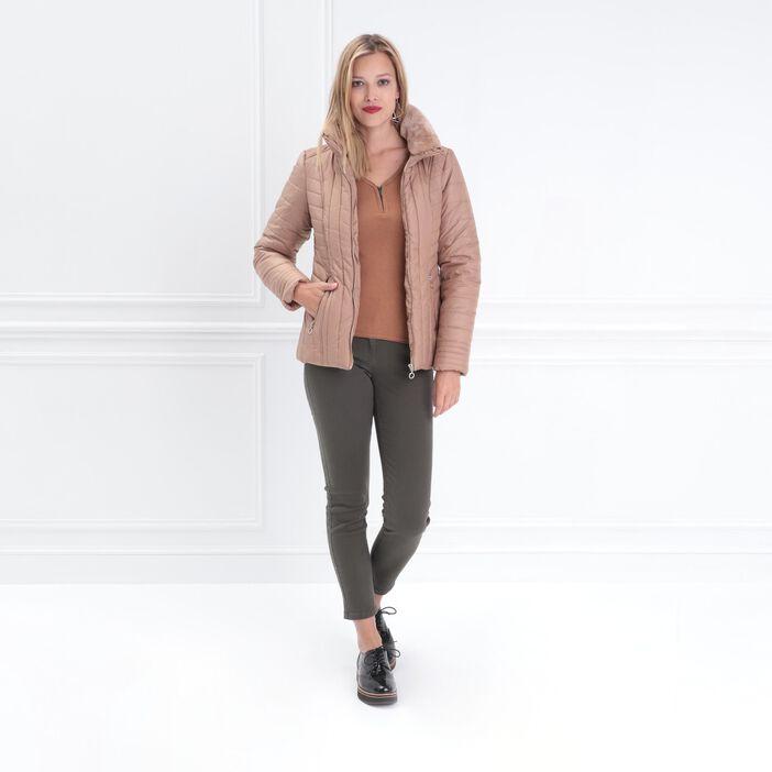 Pantalon 7/8 taille standard vert kaki femme