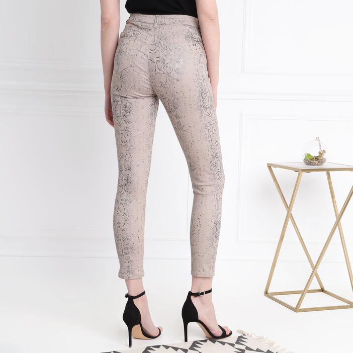 Pantalon 7/8 taille standard beige femme