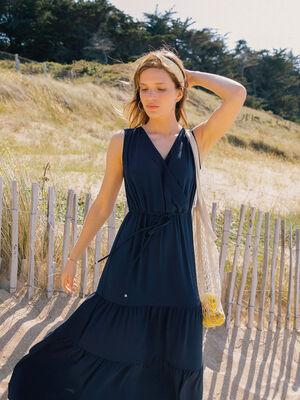 Robe longue unie bleu marine femme