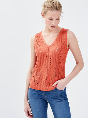 Pull bretelles larges orange fonce femme