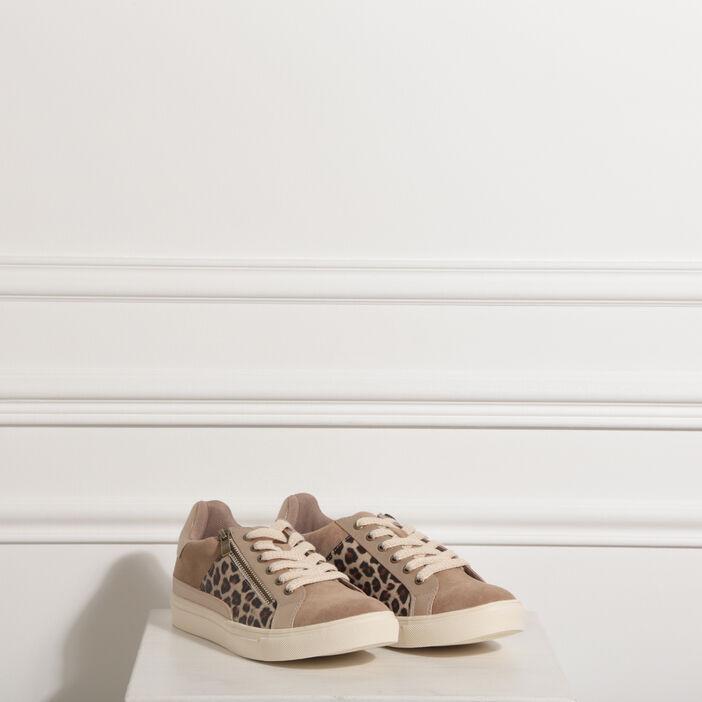 Baskets basses zippées marron femme
