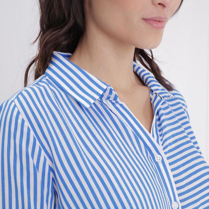 Chemise rayée bicolore bleu femme