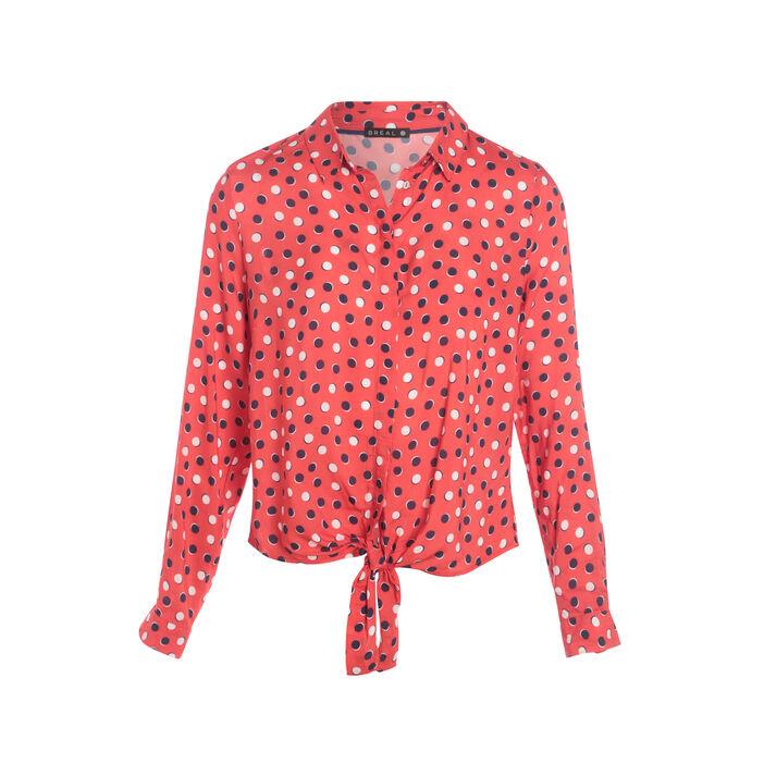 Chemise imprimée nouée rose fushia femme