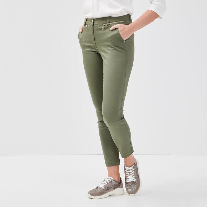 Pantalon ajusté 7/8ème vert kaki femme