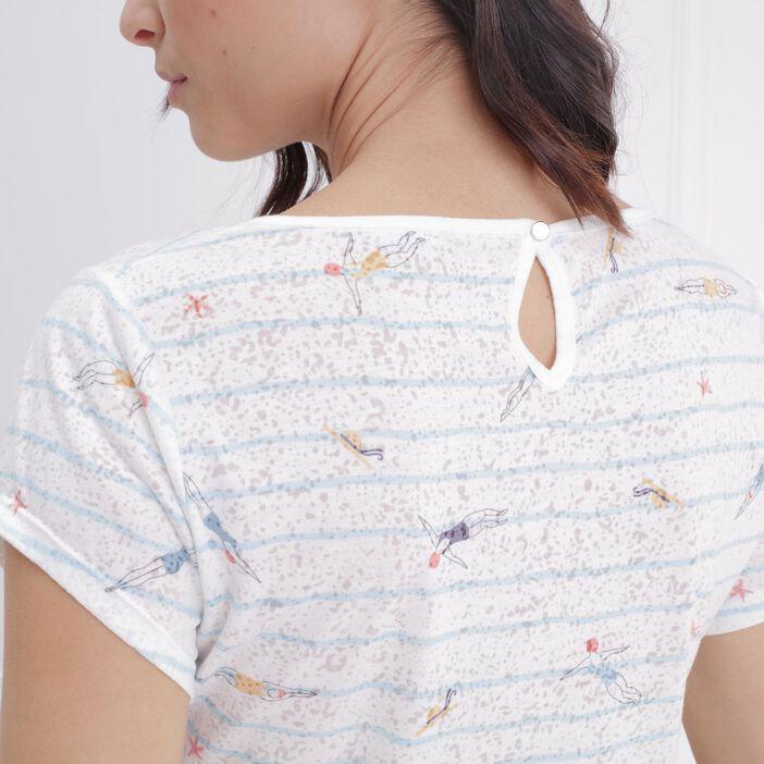 T-shirt manches courtes avec baigneuses ecru femme