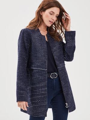 Manteau droit zippe bleu marine femme
